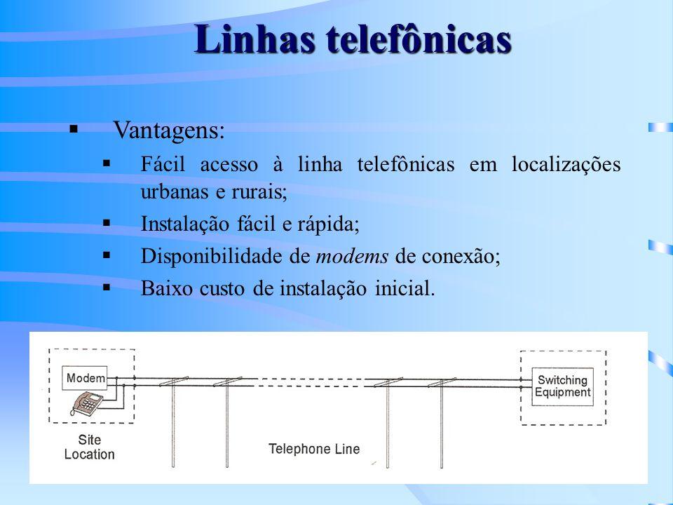 Linhas telefônicas Vantagens: Fácil acesso à linha telefônicas em localizações urbanas e rurais; Instalação fácil e rápida; Disponibilidade de modems