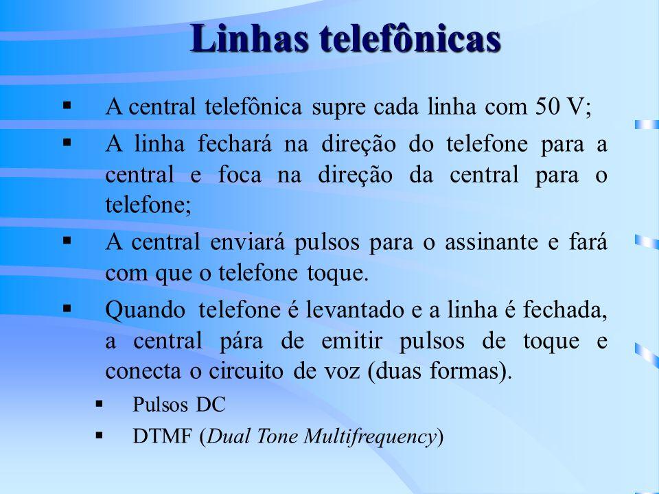 Linhas telefônicas A central telefônica supre cada linha com 50 V; A linha fechará na direção do telefone para a central e foca na direção da central