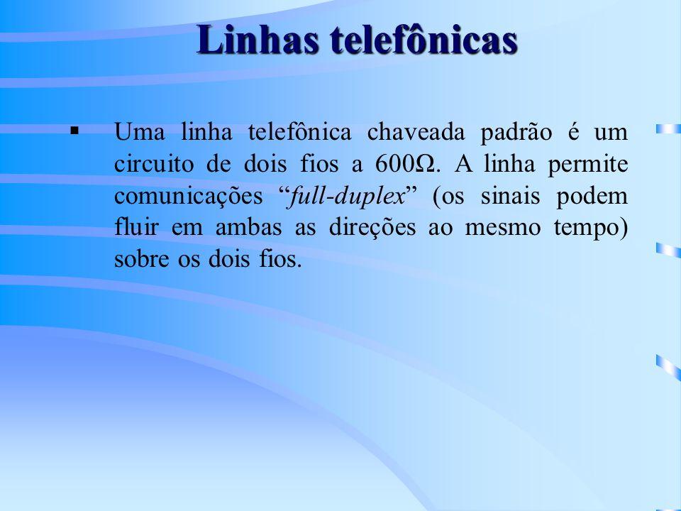 Linhas telefônicas Uma linha telefônica chaveada padrão é um circuito de dois fios a 600Ω. A linha permite comunicações full-duplex (os sinais podem f