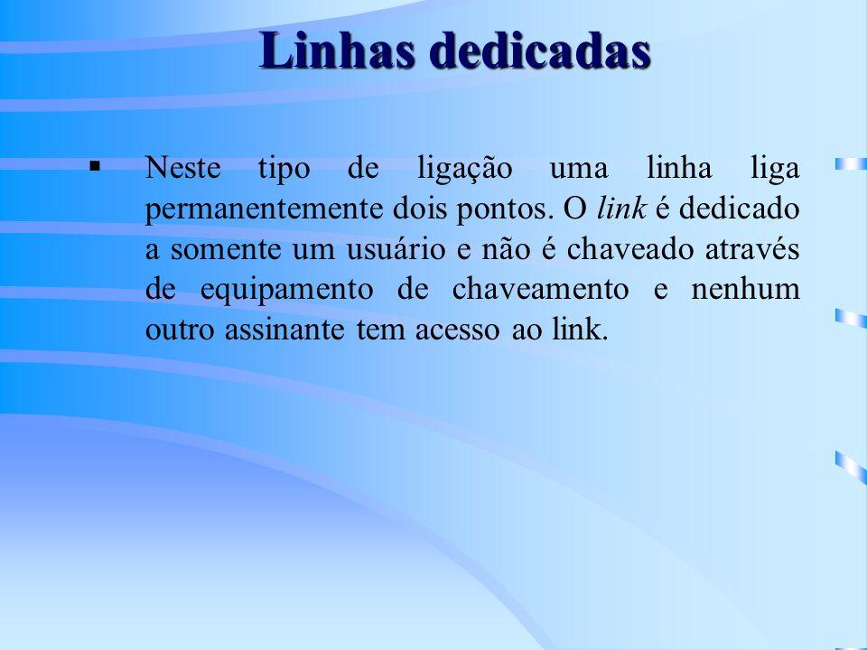 Linhas dedicadas Neste tipo de ligação uma linha liga permanentemente dois pontos. O link é dedicado a somente um usuário e não é chaveado através de