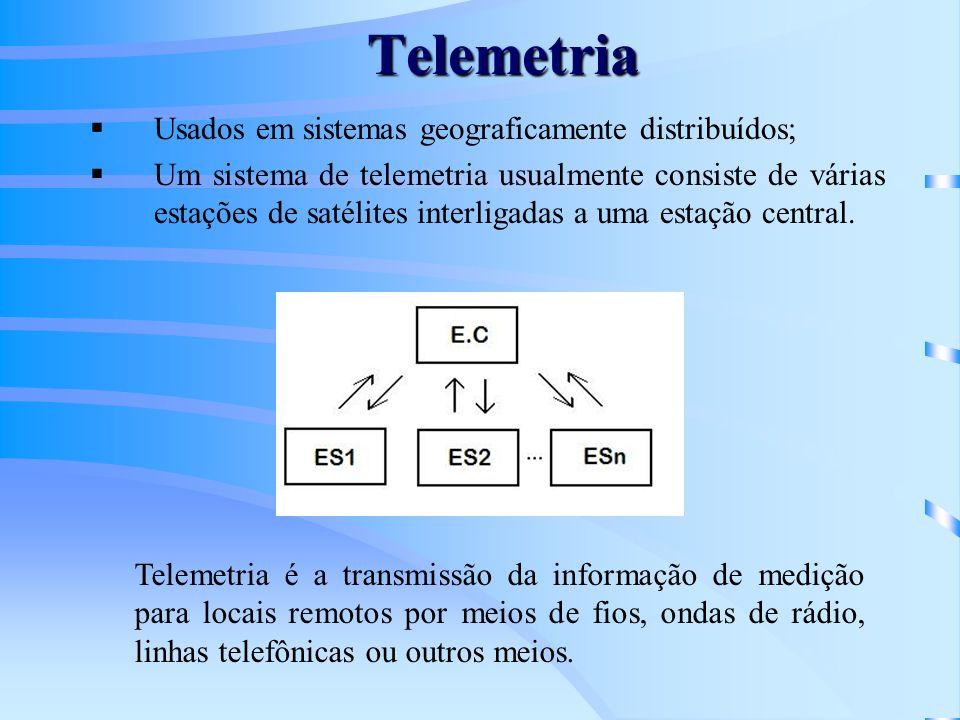 Telemetria Usados em sistemas geograficamente distribuídos; Um sistema de telemetria usualmente consiste de várias estações de satélites interligadas