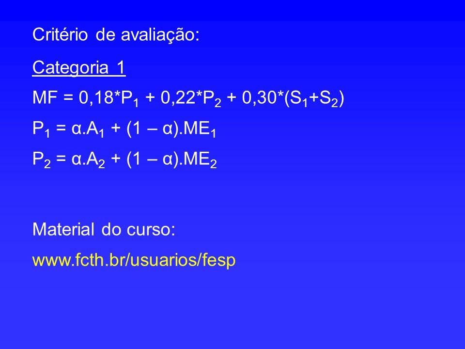 Critério de avaliação: Categoria 1 MF = 0,18*P 1 + 0,22*P 2 + 0,30*(S 1 +S 2 ) P 1 = α.A 1 + (1 – α).ME 1 P 2 = α.A 2 + (1 – α).ME 2 Material do curso