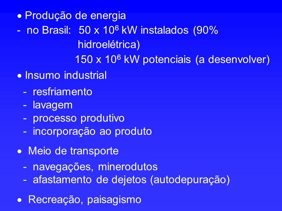 Produção de energia - no Brasil: 50 x 10 6 kW instalados (90% hidroelétrica) 150 x 10 6 kW potenciais (a desenvolver) Insumo industrial - resfriamento