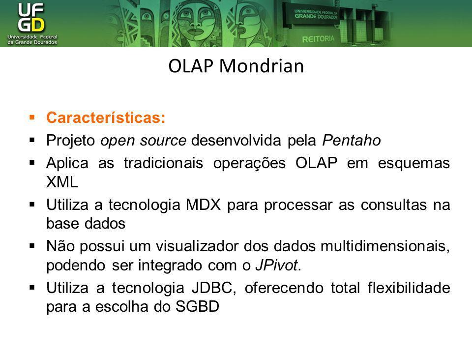 OLAP Mondrian Características: Projeto open source desenvolvida pela Pentaho Aplica as tradicionais operações OLAP em esquemas XML Utiliza a tecnologi
