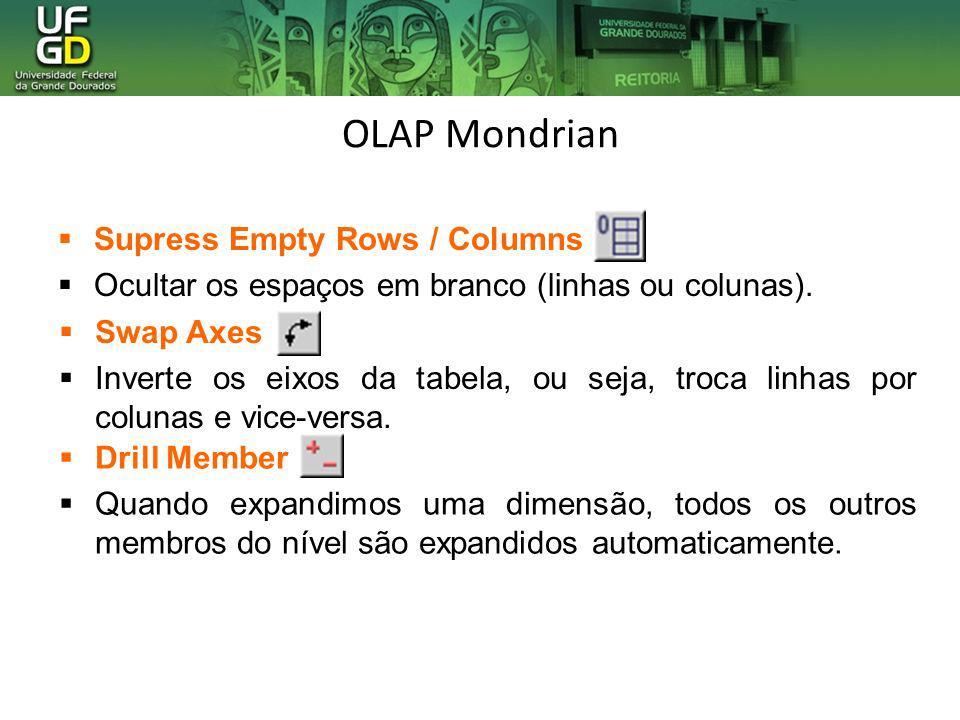 OLAP Mondrian Supress Empty Rows / Columns Ocultar os espaços em branco (linhas ou colunas). Swap Axes Inverte os eixos da tabela, ou seja, troca linh