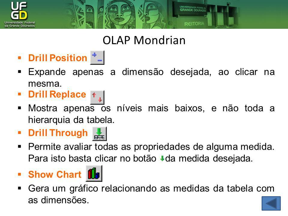 OLAP Mondrian Drill Position Expande apenas a dimensão desejada, ao clicar na mesma. Drill Replace Mostra apenas os níveis mais baixos, e não toda a h