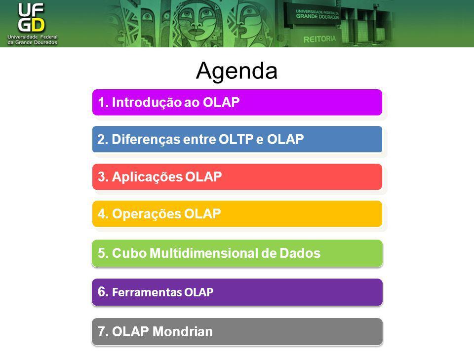 Agenda 1. Introdução ao OLAP 1. Introdução ao OLAP 2. Diferenças entre OLTP e OLAP 2. Diferenças entre OLTP e OLAP 3. Aplicações OLAP 3. Aplicações OL