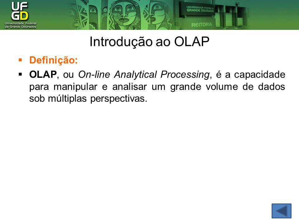 Introdução ao OLAP Definição: OLAP, ou On-line Analytical Processing, é a capacidade para manipular e analisar um grande volume de dados sob múltiplas