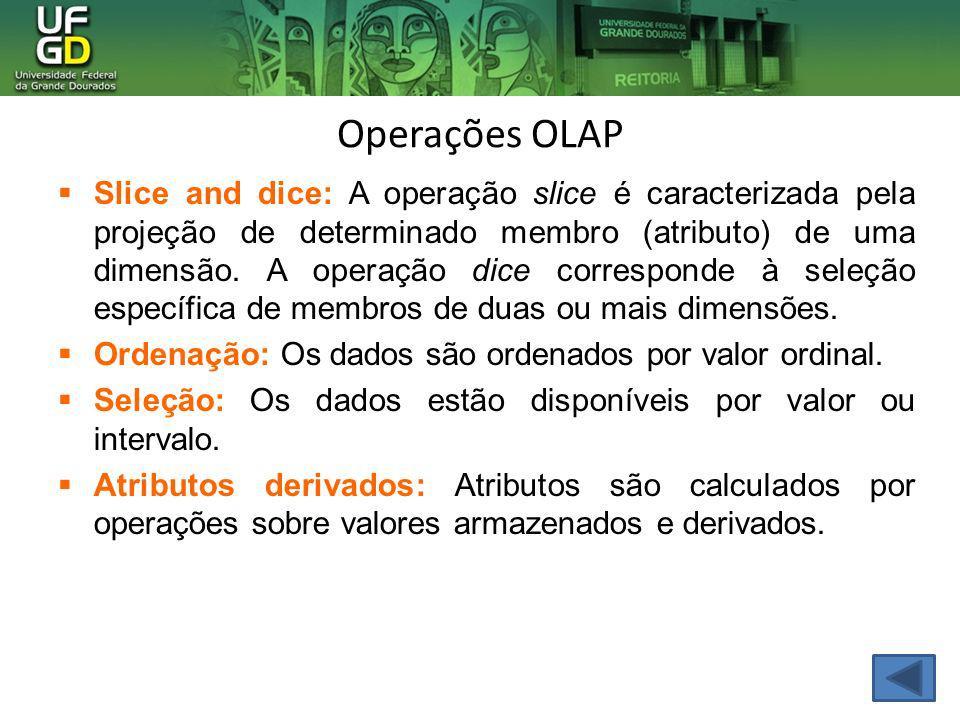 Operações OLAP Slice and dice: A operação slice é caracterizada pela projeção de determinado membro (atributo) de uma dimensão. A operação dice corres