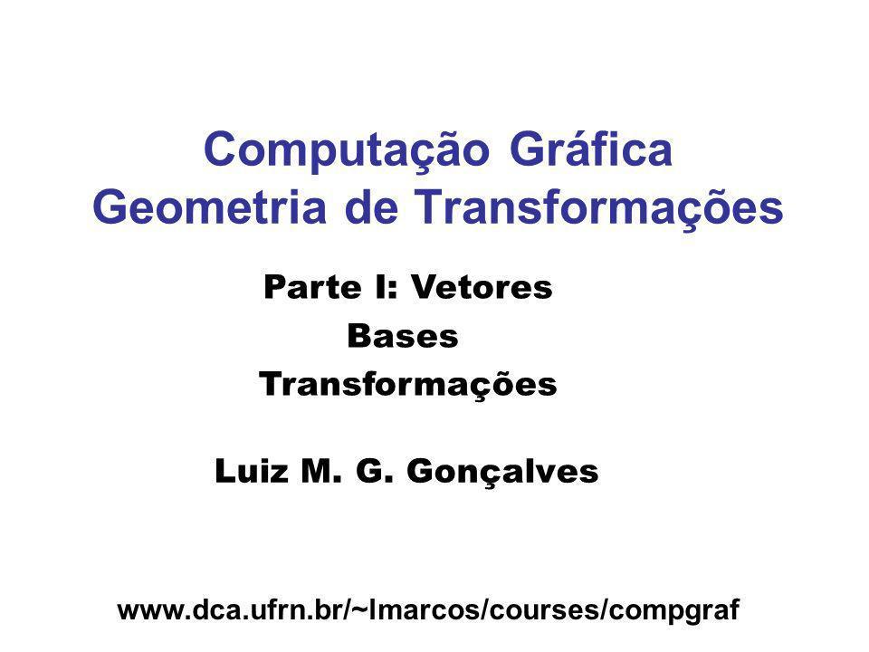 www.dca.ufrn.br/~lmarcos/courses/compgraf Computação Gráfica Geometria de Transformações Luiz M. G. Gonçalves Parte I: Vetores Bases Transformações