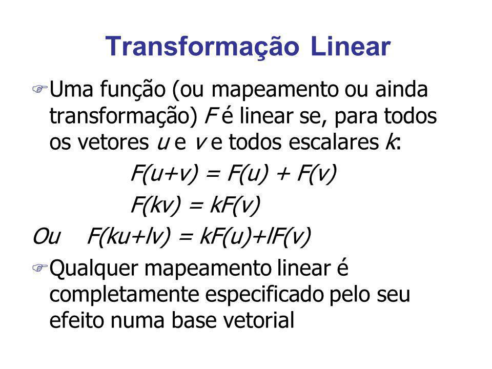 Transformação Linear F Uma função (ou mapeamento ou ainda transformação) F é linear se, para todos os vetores u e v e todos escalares k: F(u+v) = F(u)
