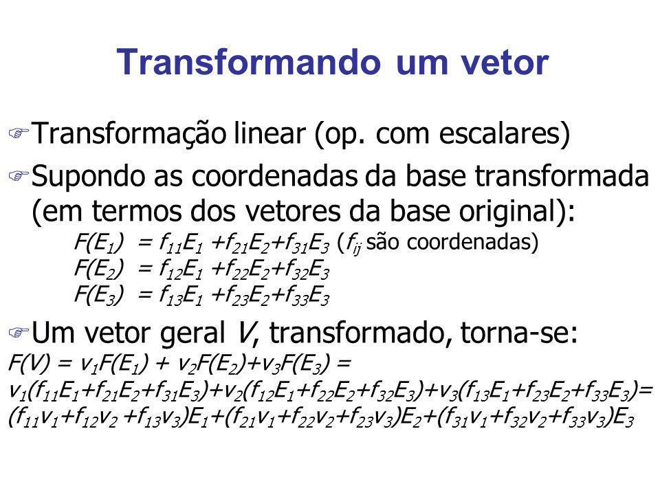 Transformando um vetor F Transformação linear (op. com escalares) F Supondo as coordenadas da base transformada (em termos dos vetores da base origina