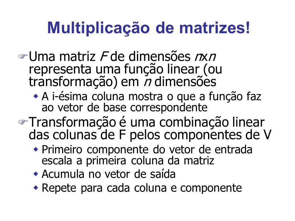 Multiplicação de matrizes! F Uma matriz F de dimensões nxn representa uma função linear (ou transformação) em n dimensões wA i-ésima coluna mostra o q
