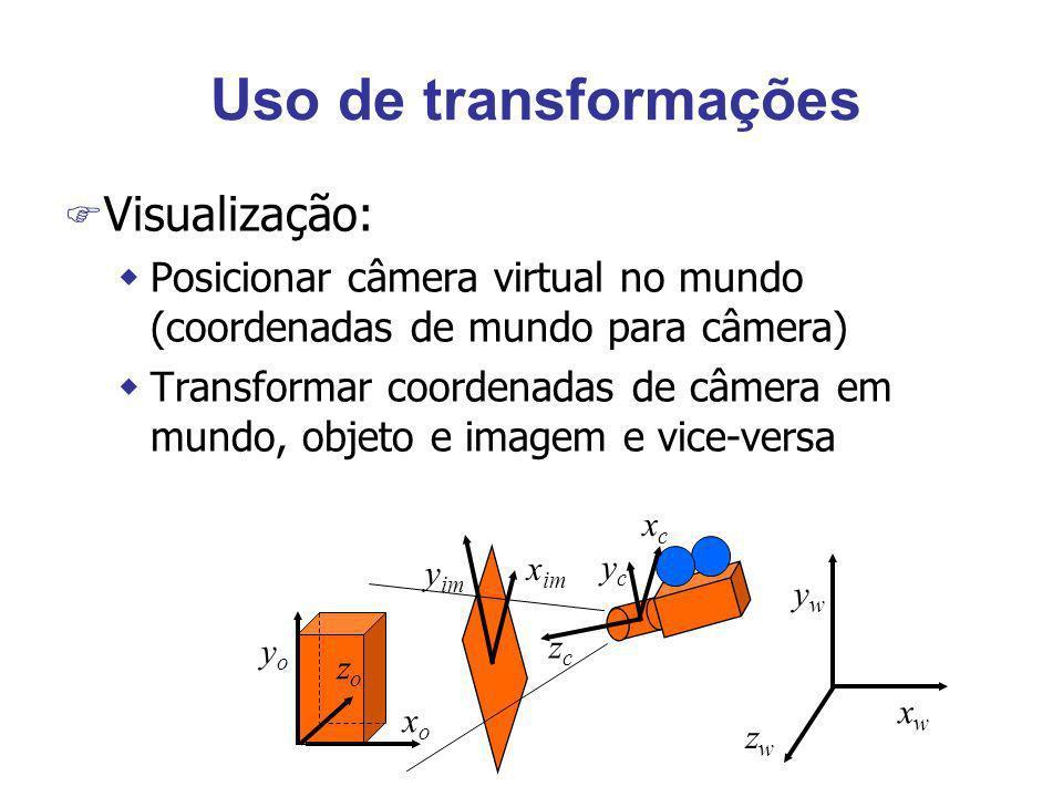 Uso de transformações F Visualização: wPosicionar câmera virtual no mundo (coordenadas de mundo para câmera) wTransformar coordenadas de câmera em mun