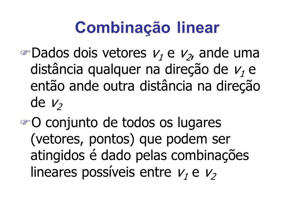 Combinação linear F Dados dois vetores v 1 e v 2, ande uma distância qualquer na direção de v 1 e então ande outra distância na direção de v 2 F O con