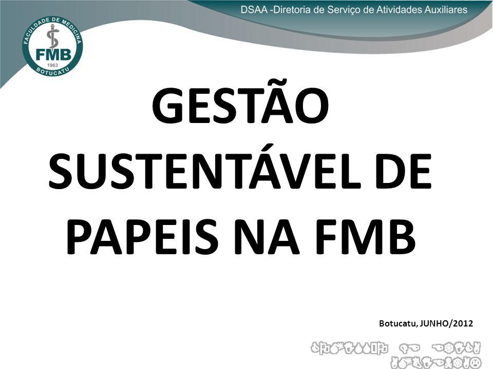 GESTÃO SUSTENTÁVEL DE PAPEIS NA FMB Botucatu, JUNHO/2012