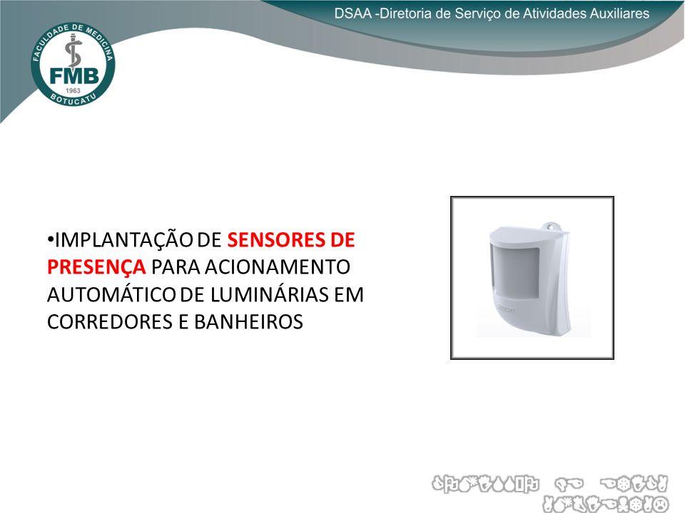 IMPLANTAÇÃO DE SENSORES DE PRESENÇA PARA ACIONAMENTO AUTOMÁTICO DE LUMINÁRIAS EM CORREDORES E BANHEIROS