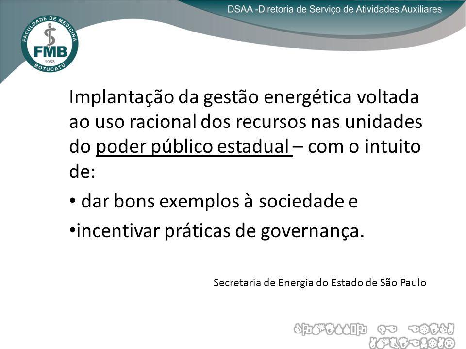 Implantação da gestão energética voltada ao uso racional dos recursos nas unidades do poder público estadual – com o intuito de: dar bons exemplos à sociedade e incentivar práticas de governança.