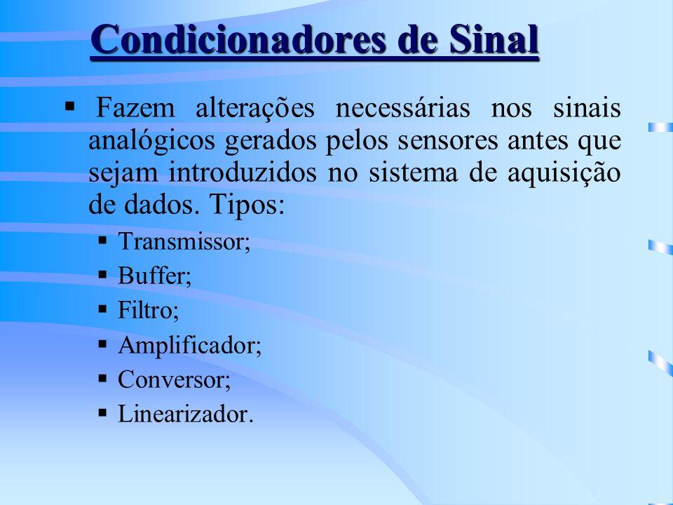 Condicionadores de Sinal Fazem alterações necessárias nos sinais analógicos gerados pelos sensores antes que sejam introduzidos no sistema de aquisiçã