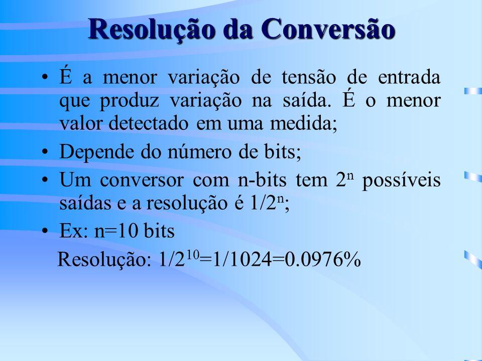 Resolução da Conversão É a menor variação de tensão de entrada que produz variação na saída. É o menor valor detectado em uma medida; Depende do númer