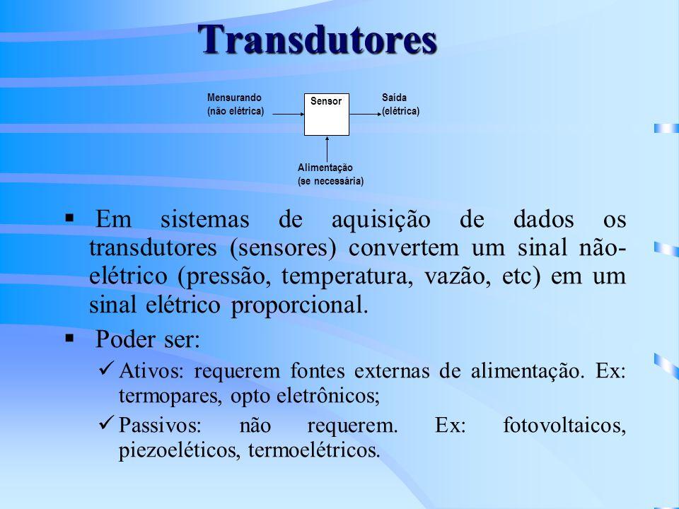Transdutores Em sistemas de aquisição de dados os transdutores (sensores) convertem um sinal não- elétrico (pressão, temperatura, vazão, etc) em um si
