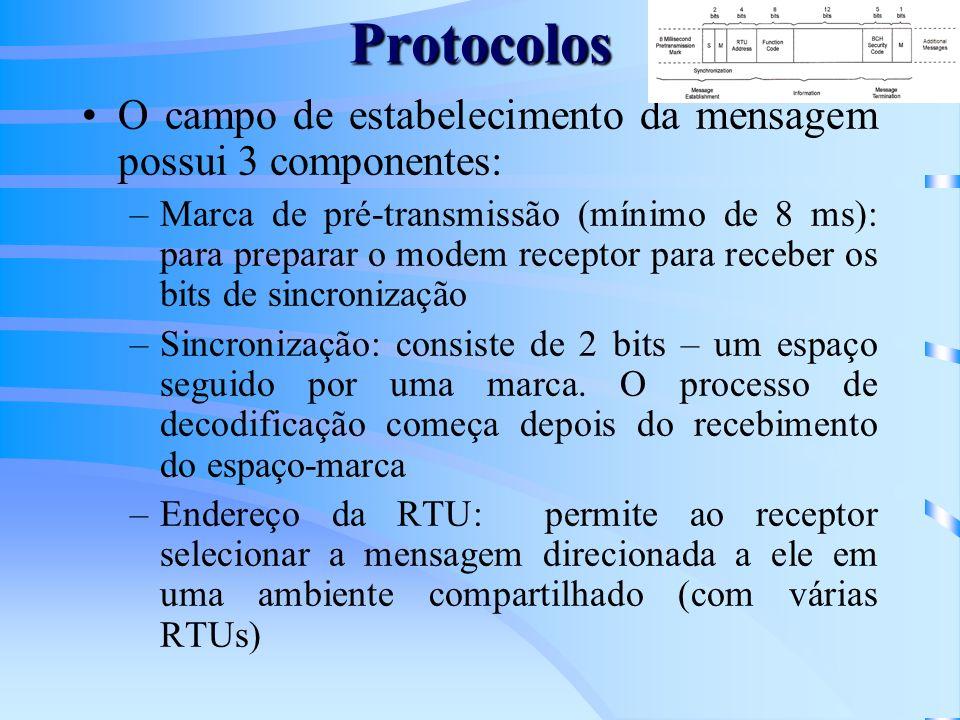 Protocolos O campo de estabelecimento da mensagem possui 3 componentes: –Marca de pré-transmissão (mínimo de 8 ms): para preparar o modem receptor para receber os bits de sincronização –Sincronização: consiste de 2 bits – um espaço seguido por uma marca.
