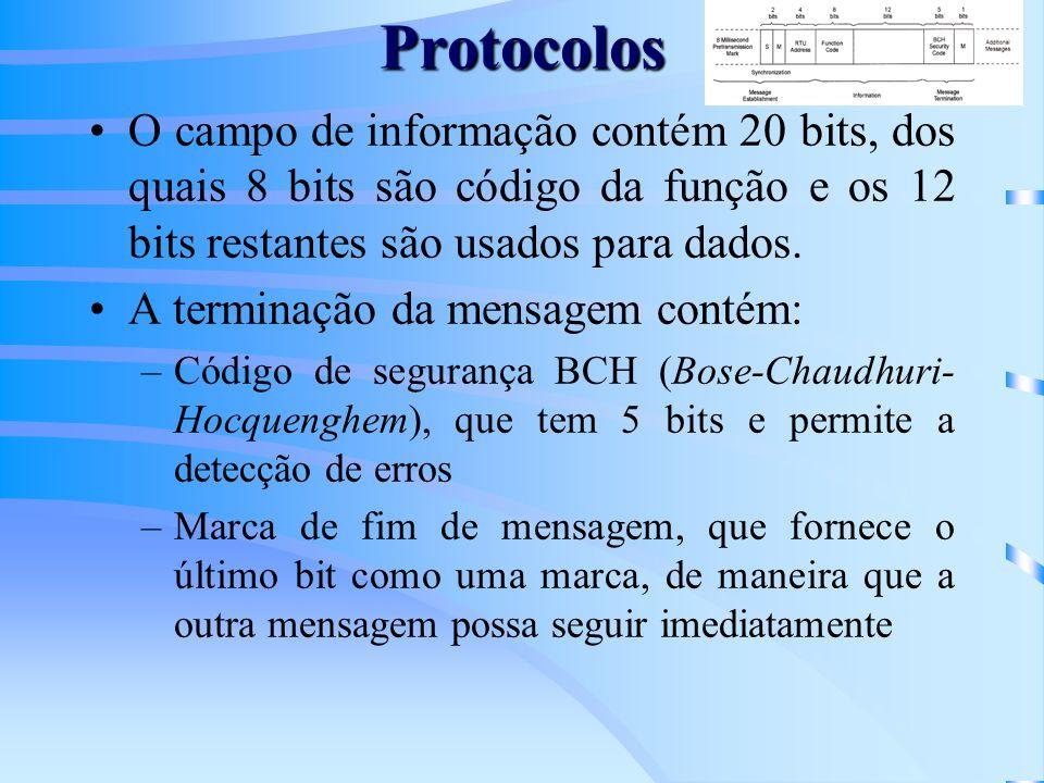 Protocolos O campo de informação contém 20 bits, dos quais 8 bits são código da função e os 12 bits restantes são usados para dados. A terminação da m