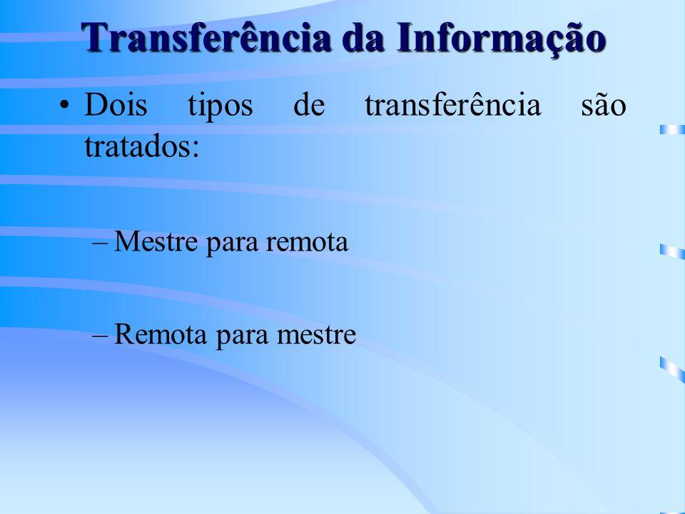Transferência da Informação Dois tipos de transferência são tratados: –Mestre para remota –Remota para mestre