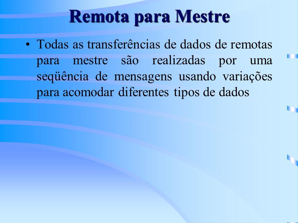 Remota para Mestre Todas as transferências de dados de remotas para mestre são realizadas por uma seqüência de mensagens usando variações para acomodar diferentes tipos de dados