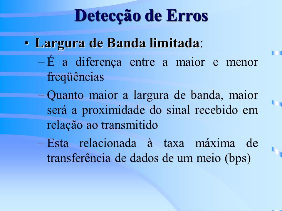 Detecção de Erros Largura de Banda limitadaLargura de Banda limitada: –É a diferença entre a maior e menor freqüências –Quanto maior a largura de band