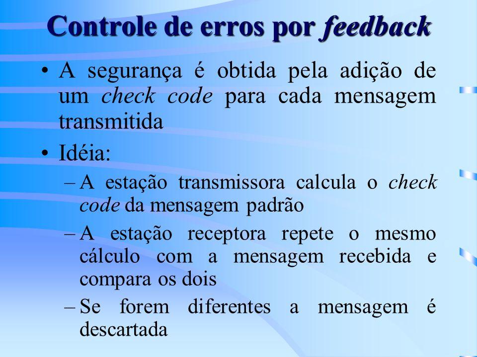 Controle de erros por feedback A segurança é obtida pela adição de um check code para cada mensagem transmitida Idéia: –A estação transmissora calcula