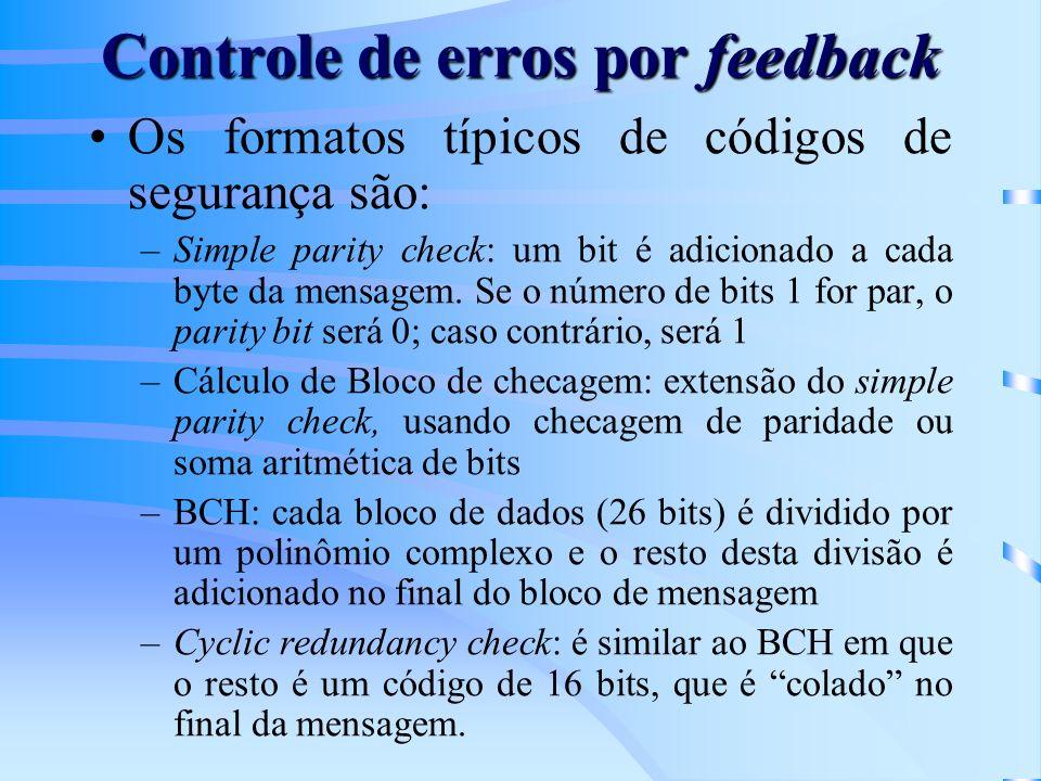 Controle de erros por feedback Os formatos típicos de códigos de segurança são: –Simple parity check: um bit é adicionado a cada byte da mensagem.