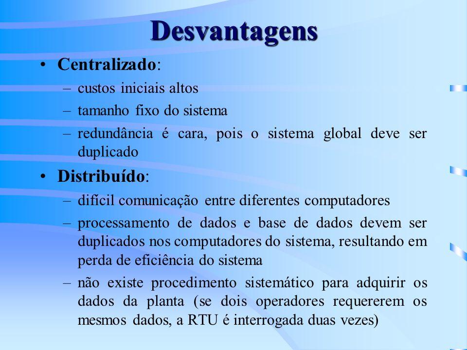 Desvantagens Centralizado: –custos iniciais altos –tamanho fixo do sistema –redundância é cara, pois o sistema global deve ser duplicado Distribuído: