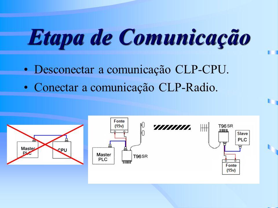 Etapa de Comunicação Desconectar a comunicação CLP-CPU. Conectar a comunicação CLP-Radio.