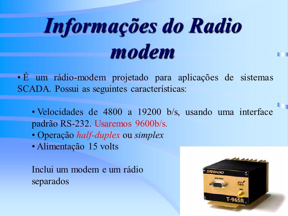 Informações do Radio modem É um rádio-modem projetado para aplicações de sistemas SCADA. Possui as seguintes características: Velocidades de 4800 a 19
