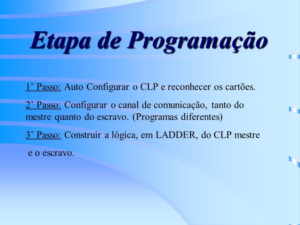 Etapa de Programação 1˚ Passo: Auto Configurar o CLP e reconhecer os cartões. 2˚ Passo: Configurar o canal de comunicação, tanto do mestre quanto do e