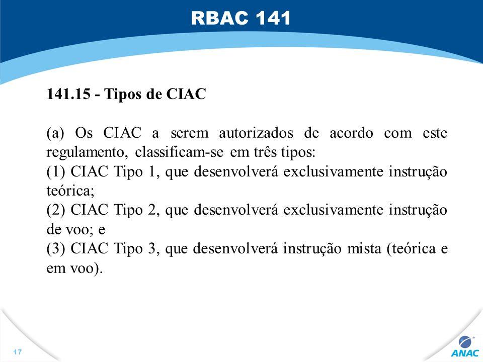 17 141.15 - Tipos de CIAC (a) Os CIAC a serem autorizados de acordo com este regulamento, classificam-se em três tipos: (1) CIAC Tipo 1, que desenvolv