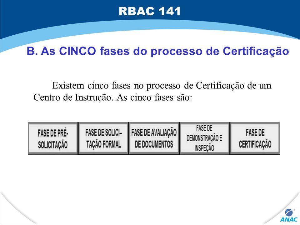 B. As CINCO fases do processo de Certificação Existem cinco fases no processo de Certificação de um Centro de Instrução. As cinco fases são: RBAC 141