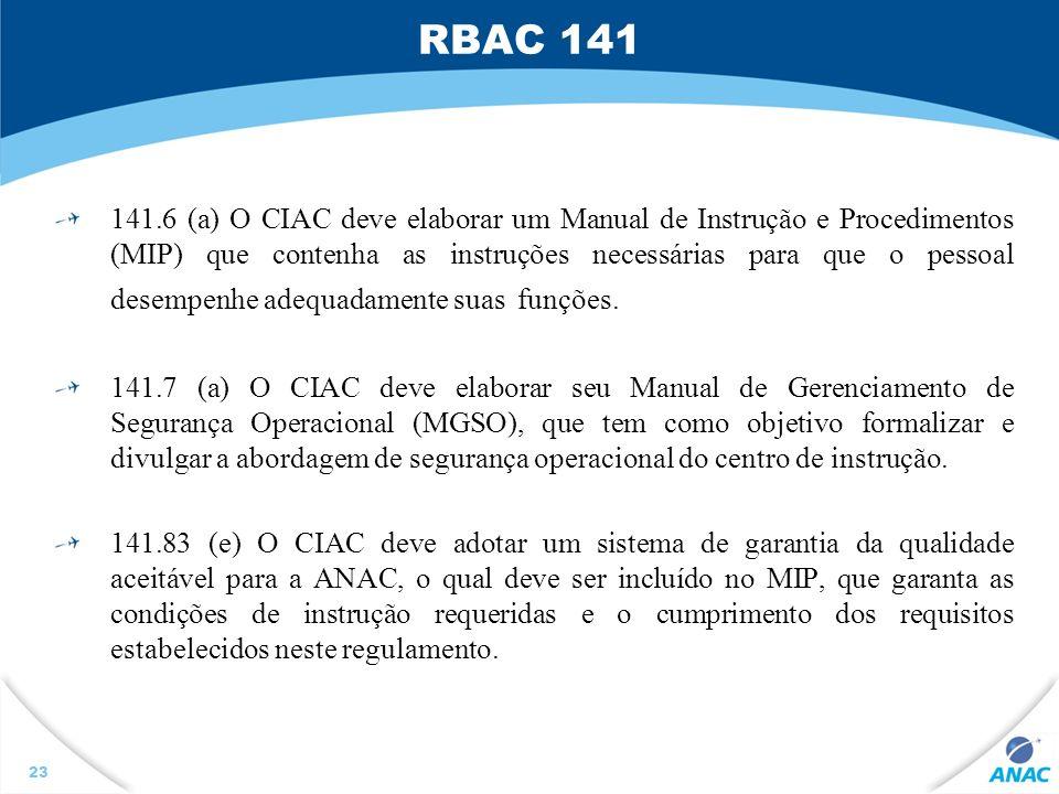 RBAC 141 141.6 (a) O CIAC deve elaborar um Manual de Instrução e Procedimentos (MIP) que contenha as instruções necessárias para que o pessoal desempe