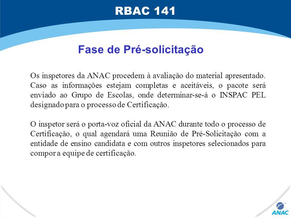 Fase de Pré-solicitação Os inspetores da ANAC procedem à avaliação do material apresentado. Caso as informações estejam completas e aceitáveis, o paco