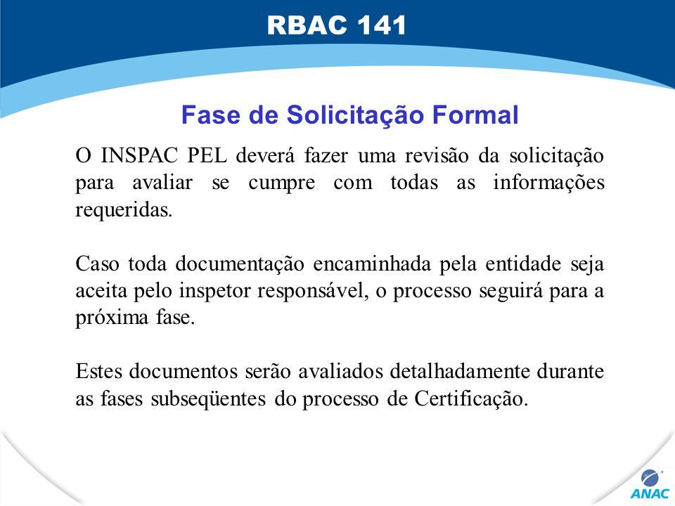 Fase de Solicitação Formal O INSPAC PEL deverá fazer uma revisão da solicitação para avaliar se cumpre com todas as informações requeridas. Caso toda