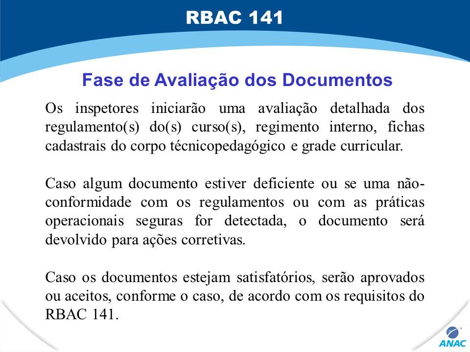 Fase de Avaliação dos Documentos Os inspetores iniciarão uma avaliação detalhada dos regulamento(s) do(s) curso(s), regimento interno, fichas cadastra