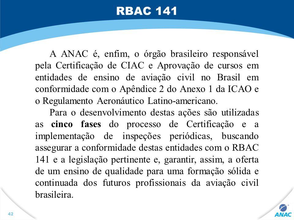 42 A ANAC é, enfim, o órgão brasileiro responsável pela Certificação de CIAC e Aprovação de cursos em entidades de ensino de aviação civil no Brasil e
