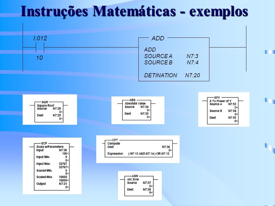 Instruções Matemáticas - exemplos ADD SOURCE A N7:3 SOURCE B N7:4 DETINATION N7:20 I:012 10