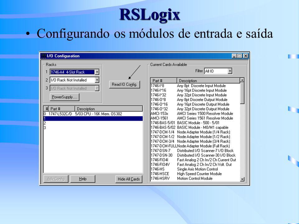 RSLogix Configurando os módulos de entrada e saída