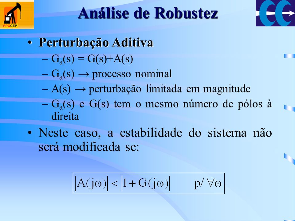 Análise de Robustez Perturbação AditivaPerturbação Aditiva –G a (s) = G(s)+A(s) –G a (s) processo nominal –A(s) perturbação limitada em magnitude –G a