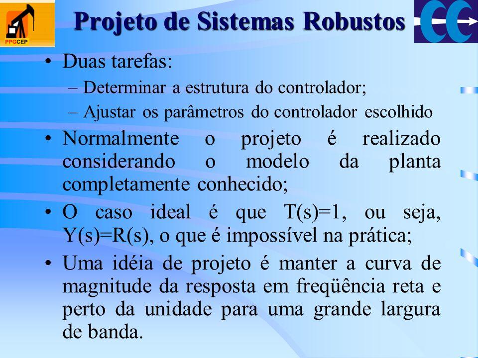 Projeto de Sistemas Robustos Duas tarefas: –Determinar a estrutura do controlador; –Ajustar os parâmetros do controlador escolhido Normalmente o proje