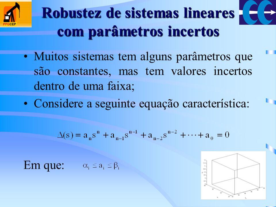 Robustez de sistemas lineares com parâmetros incertos Para assegurar a estabilidade do sistema anterior devem ser investigados, em princípio, todas as combinações possíveis de parâmetros; KharitonovMas o teorema de Kharitonov, diz que é necessário verificar somente a estabilidade de 4 polinômios: