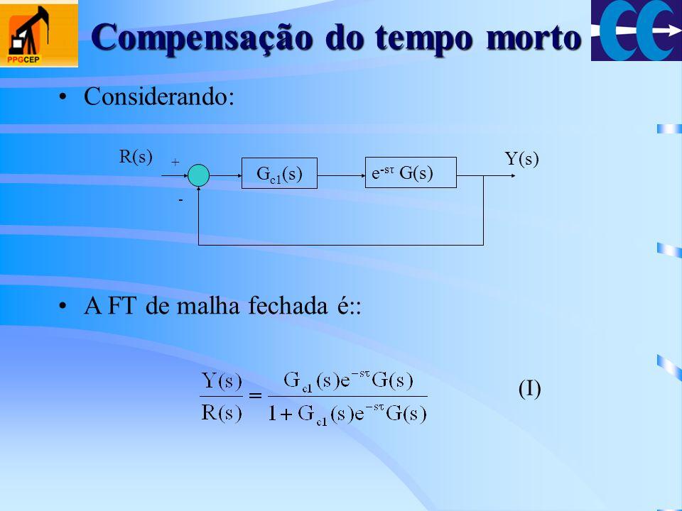 Compensação do tempo morto Considerando: G c1 (s) e -sτ G(s) + - R(s) Y(s) A FT de malha fechada é:: (I)