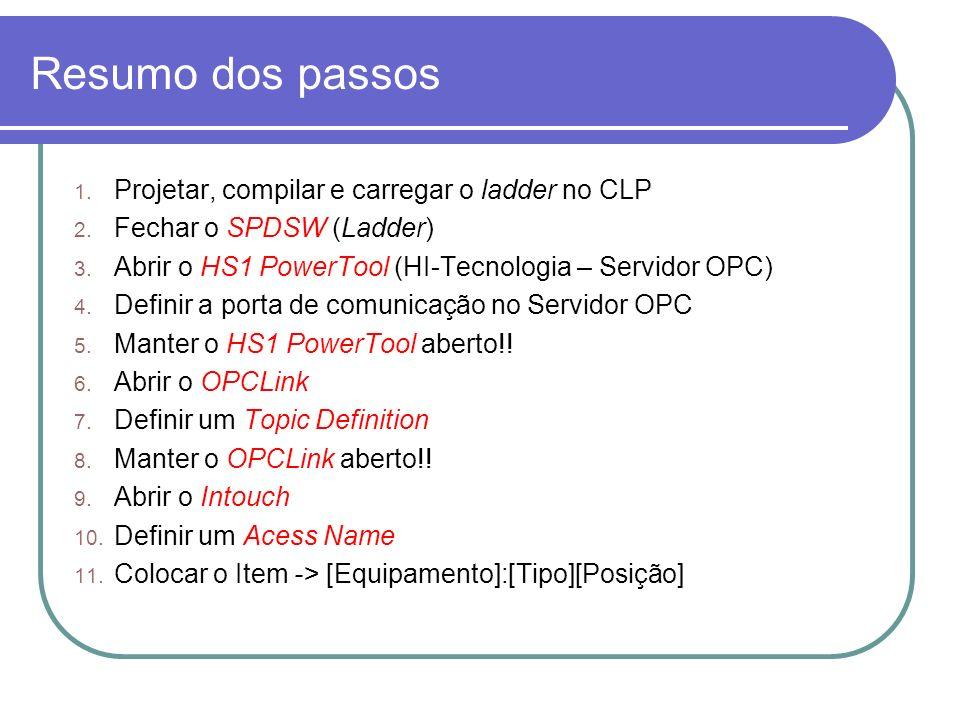 Resumo dos passos 1.Projetar, compilar e carregar o ladder no CLP 2.